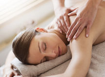 Relaxing back massage at spa Royalty Free Stock Photo