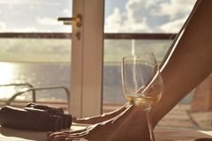 Relaxing in Balcony Statesroom in Cruise stock photo