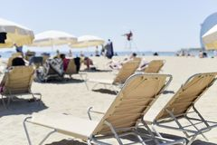 Relaxing at Barceloneta beach in Barcelona, Spain royalty free stock images