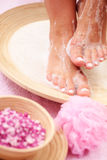 Relaxing bath. For feet - beauty treatment Stock Photos
