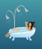 Relaxing in the bath, ilustración del vector