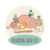 Relaxing bath set Royalty Free Stock Image