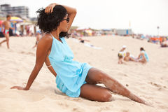 Relaxing on the beach royalty free stock photography