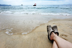 Relaxing at beach Royalty Free Stock Photos