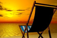 Relaxing by the beach. 3d render illustration of beach chair detail in sunset beach background stock images