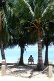 Relaxing at the Beach. At Roatan, Honduras Stock Photo