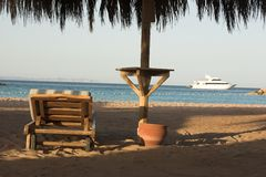 Relaxing on the beach. Tropical beach-red sea in egypt Royalty Free Stock Photography