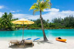 Relaxing at the beach in Bora Bora Stock Photo