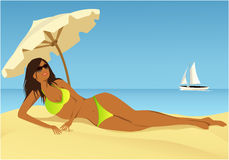 Relaxing on the beach. Cartoon summer background with young woman sunbathing on the beach Stock Photo