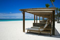 Relaxing beach chairs in Dominican Republic stock photos