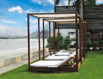 Relaxing beach couch. luxury resort. In thailand, hua hin Stock Image