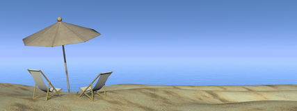 Relaxing at the beach - 3D render Stock Images