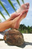 Relaxing Beach Feet Stock Images