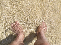 Relaxing at the beach. Feet in the sand in shallow water with copy space Stock Images