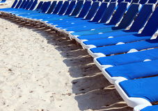 Relaxing beach loungers. Bright blue relaxing beach lounge chairs in a row with shadows Royalty Free Stock Photography