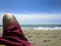 Relaxing On Beach. Mediterranean Sea Stock Photo
