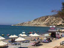 Relaxing on the beach !. Pissouris in Cyprus 2017 Royalty Free Stock Images