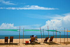 Relaxing beach scene Royalty Free Stock Photo