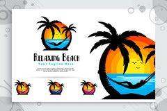 Relaxing beach vector logo with silhouette illustration relaxing people , sunset and coconut tree can use for icon digital stock illustration