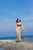 Relaxing beach walk stock photography