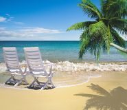 Relaxing on beautiful beach Stock Images