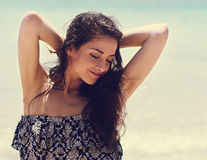 Relaxing beautiful woman with closed eyes  and epilation armpits Royalty Free Stock Photos