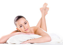 Relaxing beautiful woman looking at camera Stock Photography