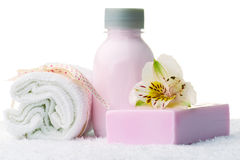 Relaxing beauty set. With luxurious towel, soap and shower gel Royalty Free Stock Photo