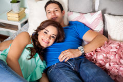 Relaxing in the bedroom Royalty Free Stock Photos