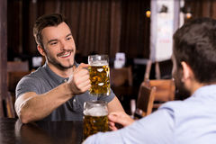 Relaxing in beer pub. Royalty Free Stock Images