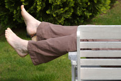 Relaxing on bench Stock Photos