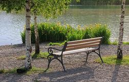 Relaxing bench, lake tegernsee Royalty Free Stock Photo
