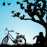 Relaxing bicyclist  under a tree. In a park Stock Photos