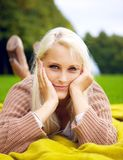 Relaxing on a blanket Royalty Free Stock Photography