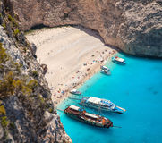 Navagio beach, Zakinthos island, Greece. Relaxing blue sea and beautiful beach Royalty Free Stock Image
