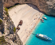 Navagio beach, Zakinthos island, Greece. Relaxing blue sea and beautiful beach Stock Images