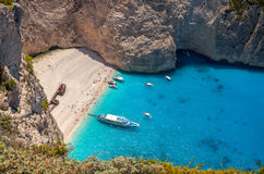 Navagio beach, Zakinthos island, Greece. Relaxing blue sea and beautiful beach Royalty Free Stock Images