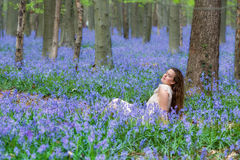 Relaxing in bluebells forest Royalty Free Stock Photo