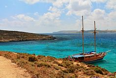 Relaxing on the boat. Captured on Comino island,Malta stock photography