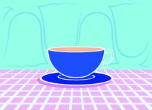 Relaxing breakfast time. Blue cup of milk and coffee over a violet cloth and some ghost fashioned blind on background vector illustration