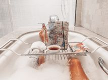 Relaxing in the bubble bath royalty free stock images