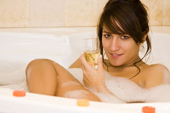 Relaxing in bubbles Royalty Free Stock Image