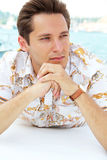 Relaxing business man on the white yacht Stock Images