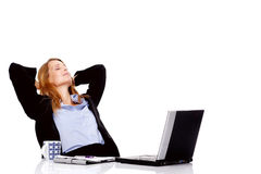 Relaxing business woman break Royalty Free Stock Photo