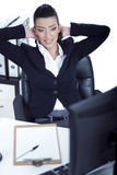 Relaxing business woman at her bay Stock Image