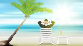 Relaxing businessman. beach palm tree and sea. Eps10 vector royalty free illustration