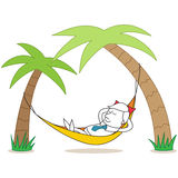 Relaxing Businessman Lying In Hammock Stock Images