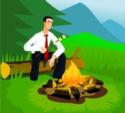 Relaxing businessman near campfire Royalty Free Stock Photography