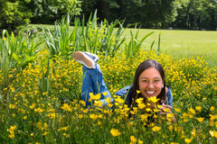 Relaxing in the buttercups Stock Photo