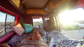 Vanlife in Western Australia. Relaxing in the campervan and waiting for the sunset. Ningaloo Reef, Exmouth, Western Australia Stock Images